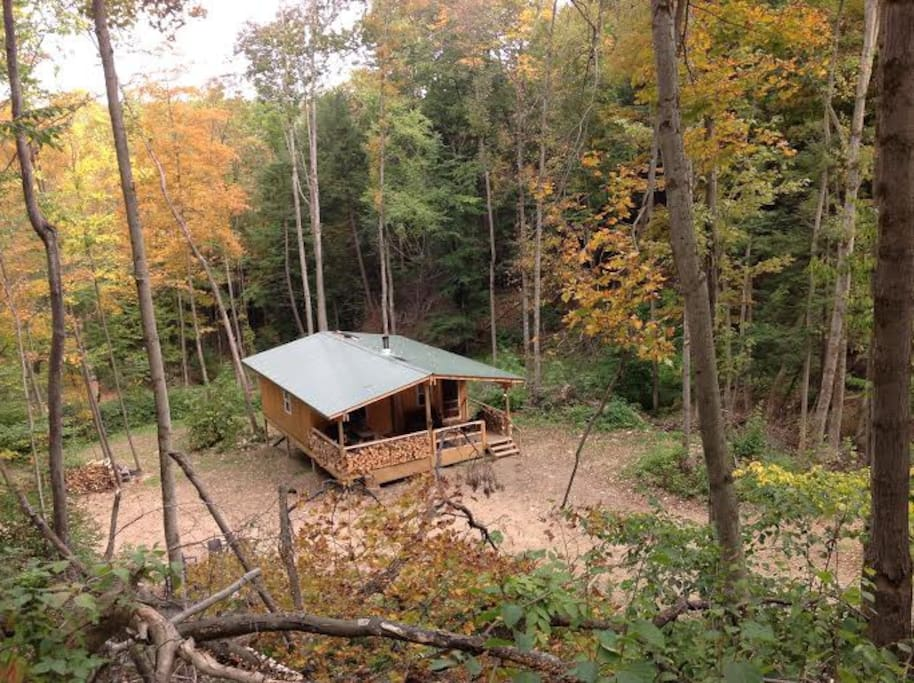 View of cabin coming down the Hogback Trail.