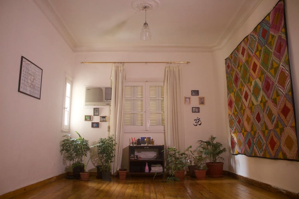 The living room/ yoga studio.  You get a complimentary class with your stay.