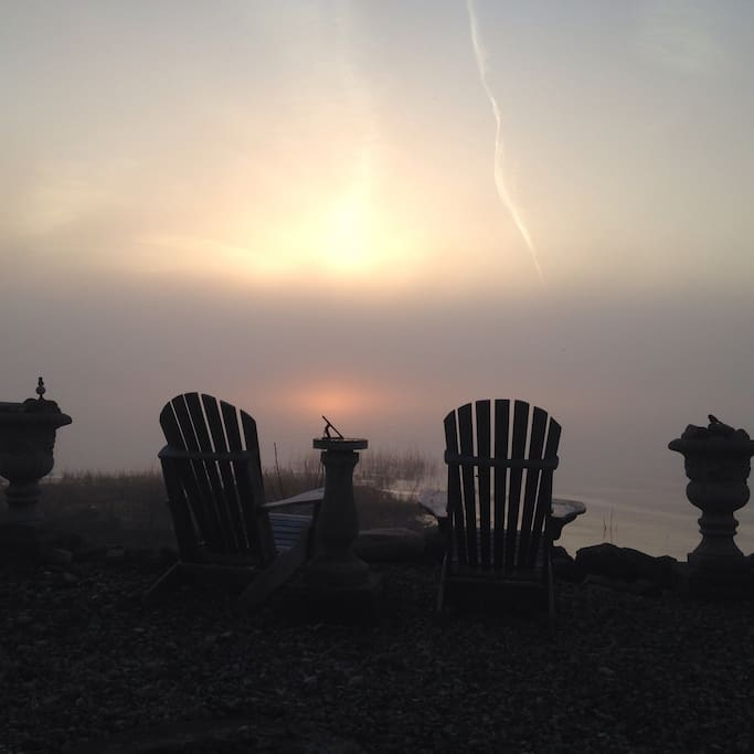 foggy evening sunset by the fire pit..
