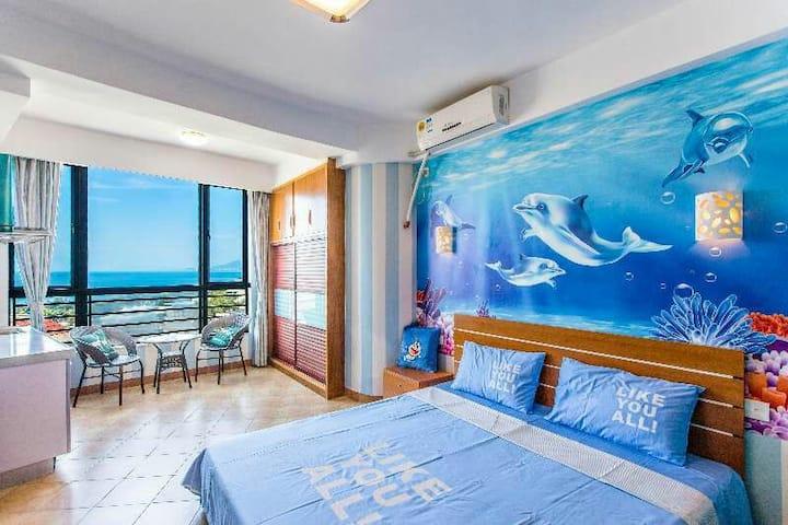 暖冬特惠   三亚湾   3分钟到椰梦长廊 沙滩 海月广场 海豚温馨蜜月房 五晚免开火费。