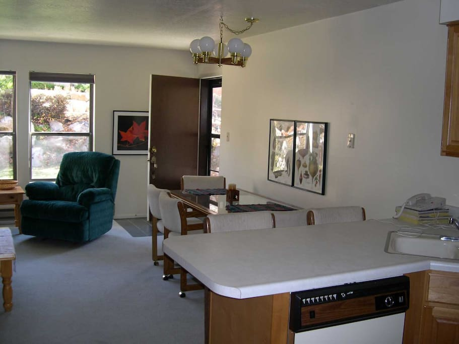 View from kitchen towards dining and portion of living room