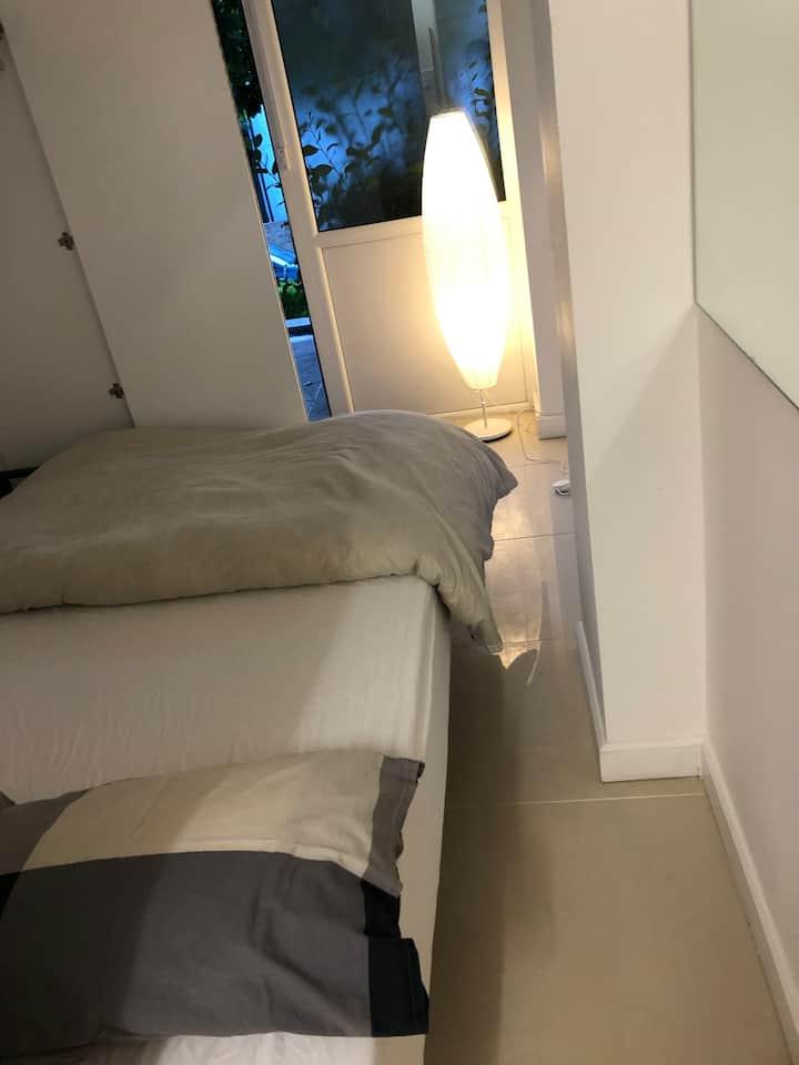 A clean, modern, spacious studio flat