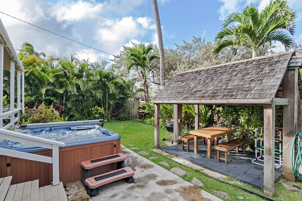gazebo with dining table. Outdoor cold shower