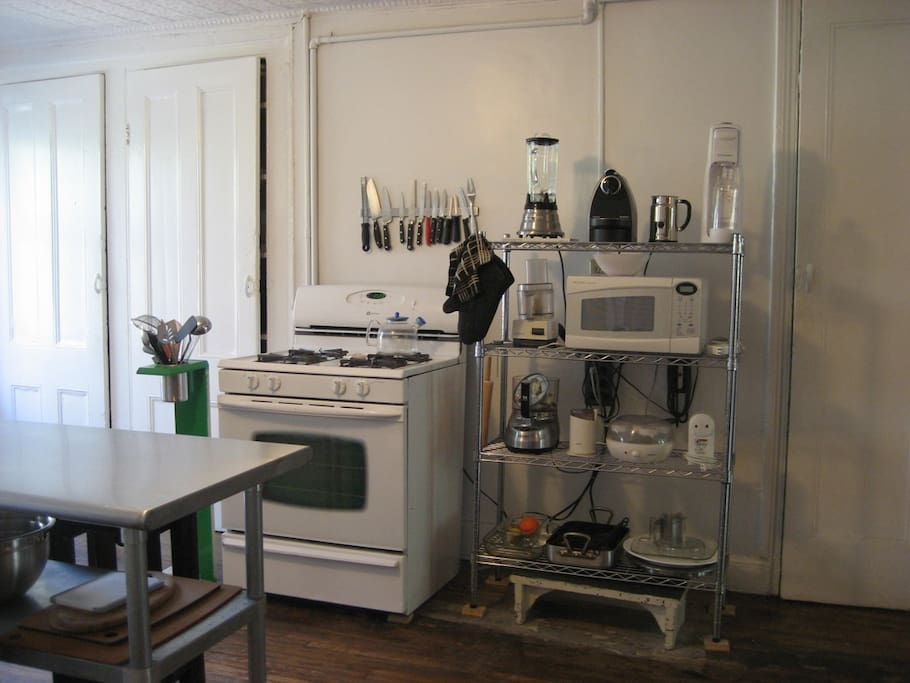 Kitchen - blender, nespresso, soda maker, cuisinart, micro, roasting pans, platters, etc. pantries full of pots and pans