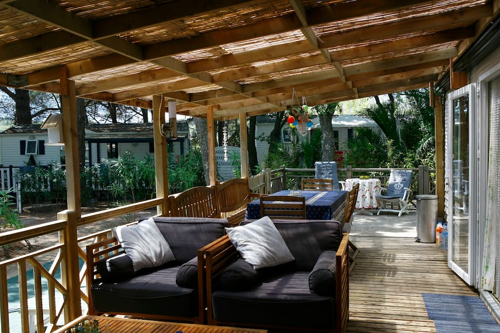 the covered porch, lounge area