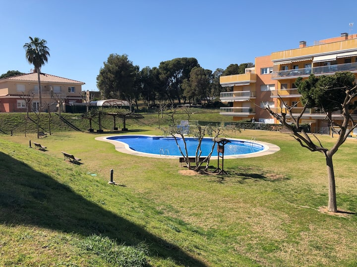 Jardin, aire, piscina, playa