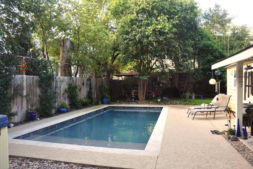 The Pool!  It's not heated, but it's almost always warmer than Barton Springs! :-)