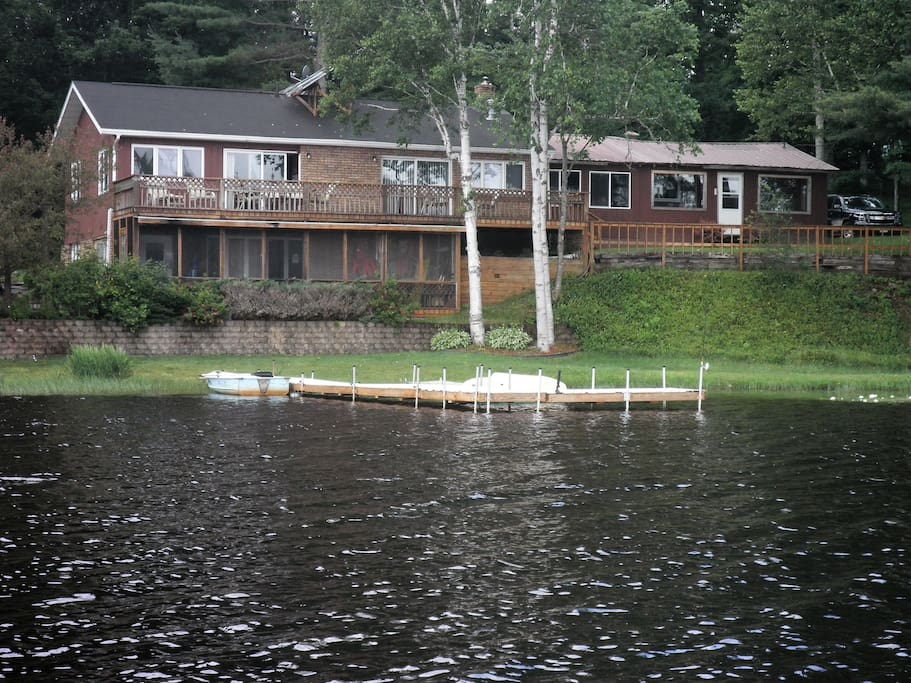 Close up of lodge from swim platform
