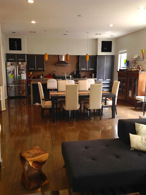 Large dining table with 2 additional leafs.  Fantastic Kitchen with large island and bar seating.  Open concept living area.