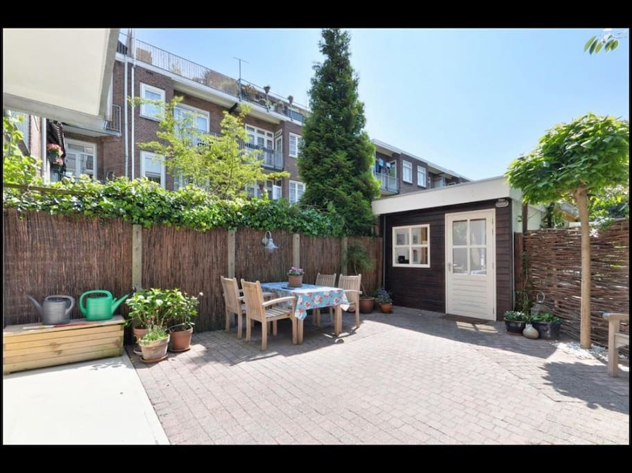 sunny garden with bbq facilities