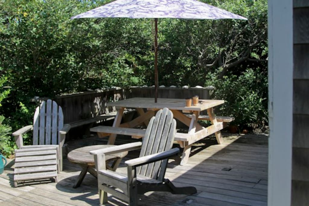 Outdoor seating area with a picnic table.