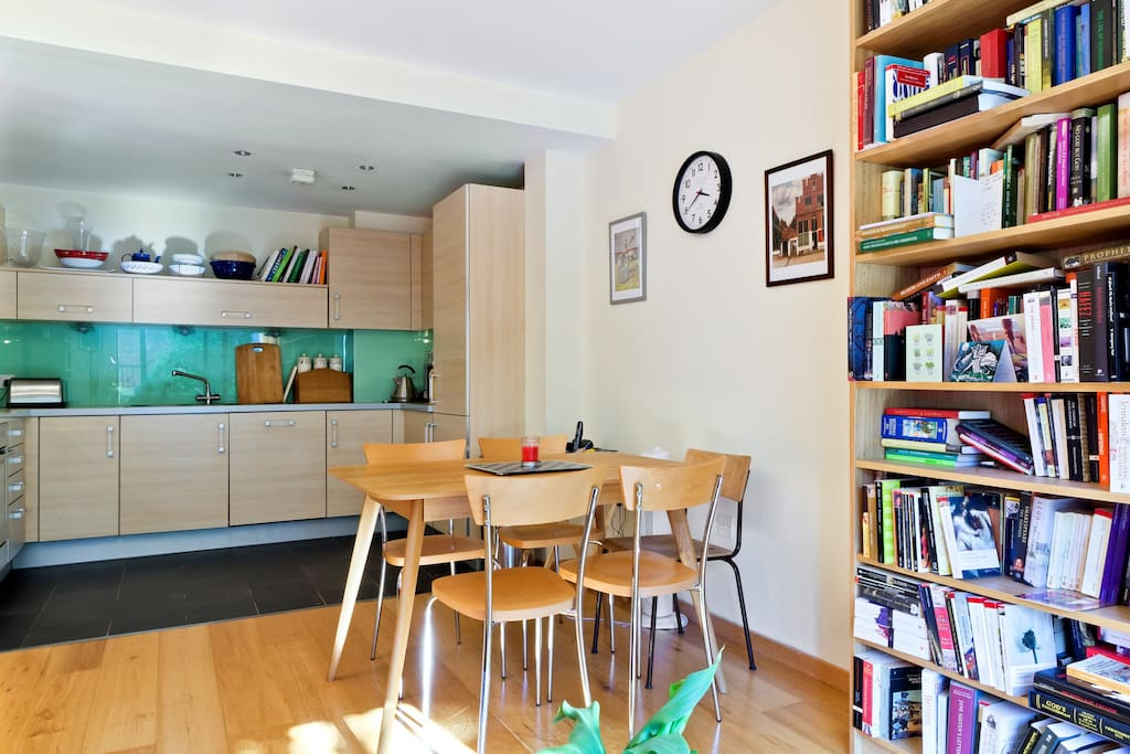 Our clean, modern kitchen and dining area.