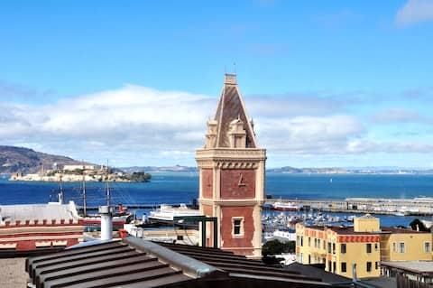 Russian Hill near Ghirardelli and view of Alcatraz
