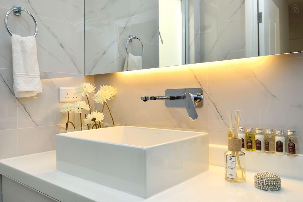 Modern bath with necessary amenities.