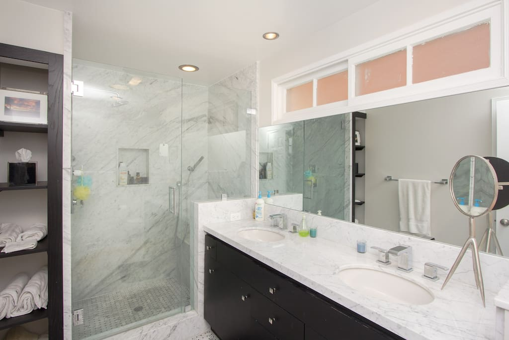 Huge shower with rainfall shower head