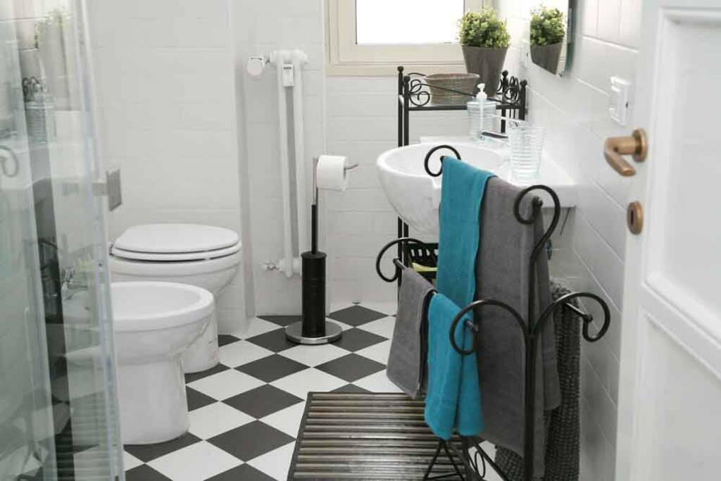 Main bathroom, with shower and bidet.  - Bagno principale, con doccia e bidet
