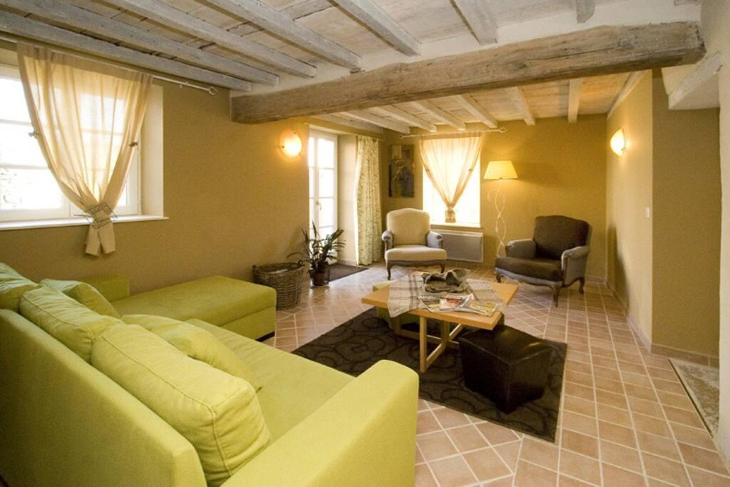 deuxième partie du salon, accès par porte fenêtre sur petite cour avec transats, table et chaises de jardin. Brise vue en bois, glycines, parasol.