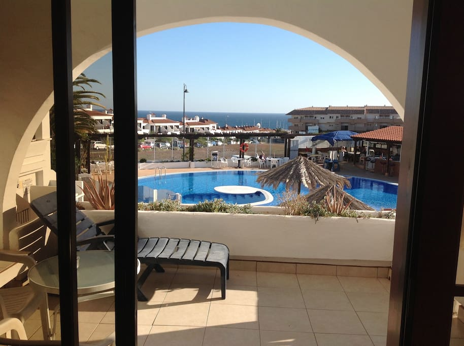 View from flat across pool to sea