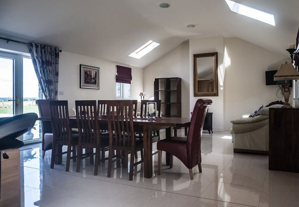 Dining and sitting room area are open plan