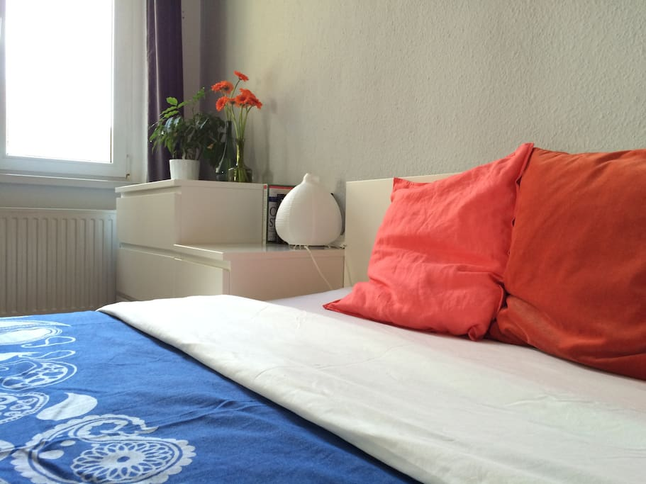 The bed is 160cm wide and has a very comfortable mattress.