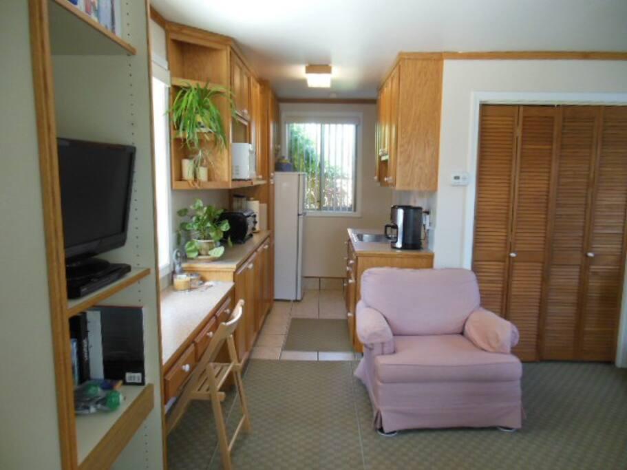 Galley kitchen area.