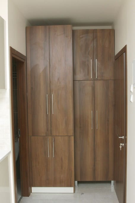 Wardrobe with washing machine inside
