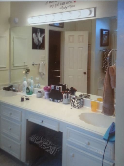 Your private restroom. Double sinks and vanity.