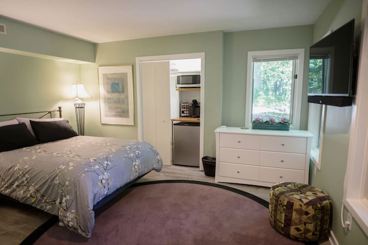 Bedroom 1: Modern and clean, mini-kitchenette and super comfy queen bed.