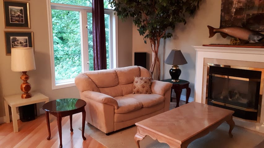 Great Room (with 12 ft ceiling) Seating Area overlooking forested backyard