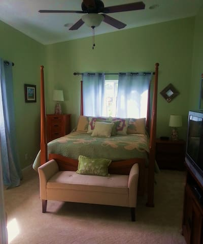 Large master bedroom with TV