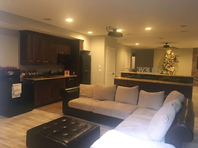 Kitchen/movie room area