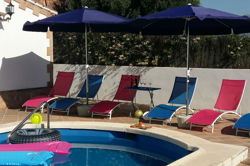 relax around the pool with a bottle of wine or two