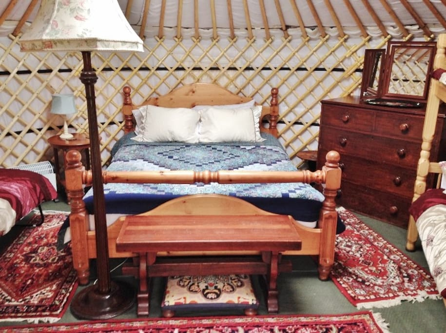 Bronwyn inside with king-size bed, double bunk & camp beds on request.