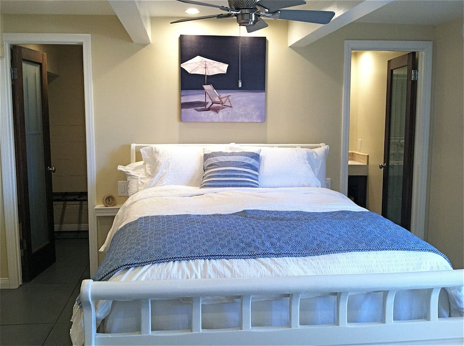 Comfy, fluffy big queen bed in newly remodeled space with separate bath and closet.