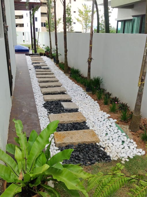 Pebbled pathway at the side