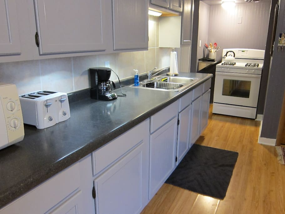 Cleaned and polished kitchen, equipped with everything you need.