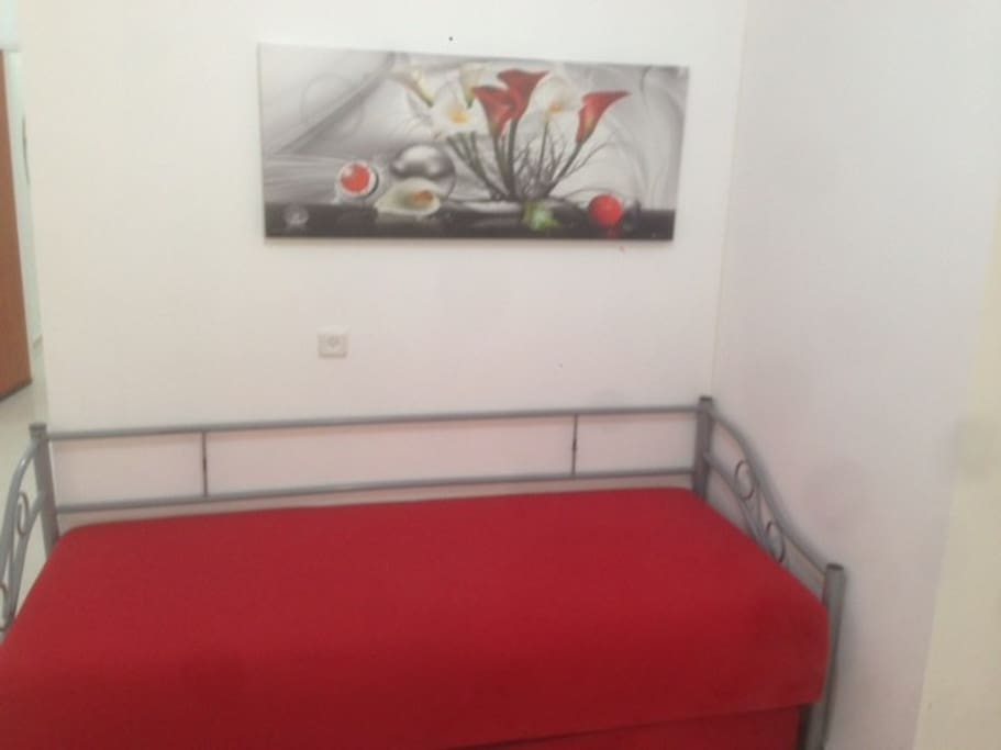 Bed for two in living area