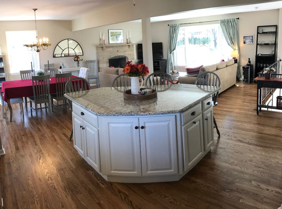 Upper living space. Kitchen Island has seating for four.
