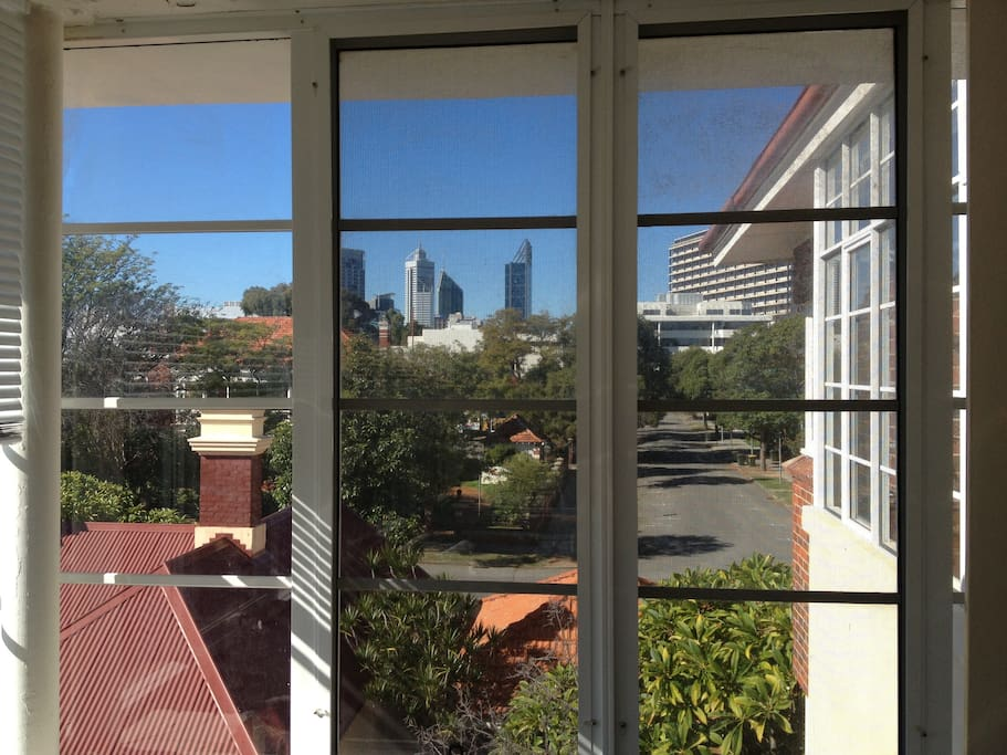 A view of Perth CBD from the north facing sunroom