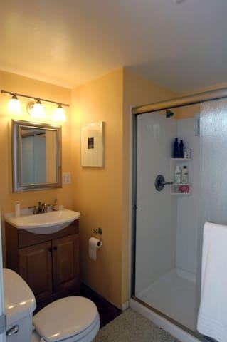 Bathroom includes roomy shower and window.