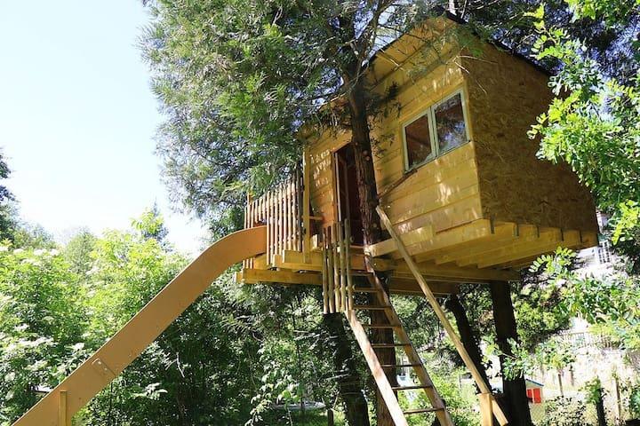 Cabane dans les arbres avec terrasse