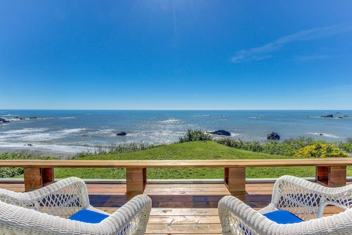Family-friendly oceanfront home, w/sweeping views & privacy