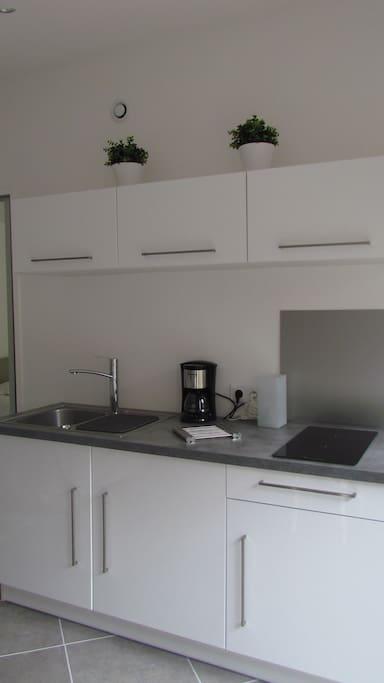 cuisine équipée : réfrigérateur, congélateur, plaque vitrocéramique, four micro ondes