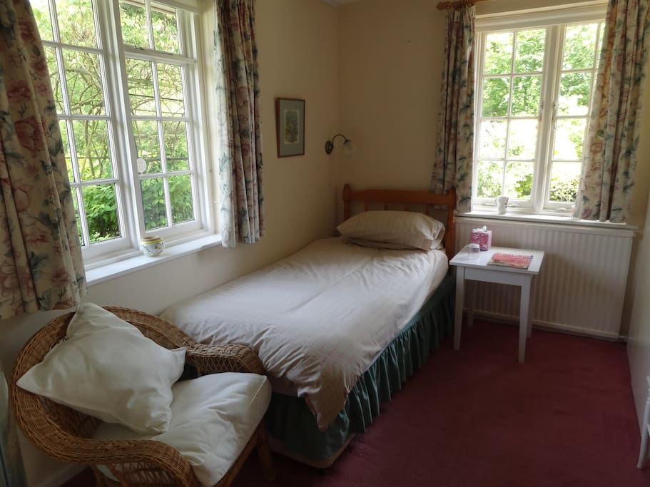 The single bedroom, on the ground floor  has an en-suite shower, tea and coffee facilities, a TV and, of course, views of the garden!