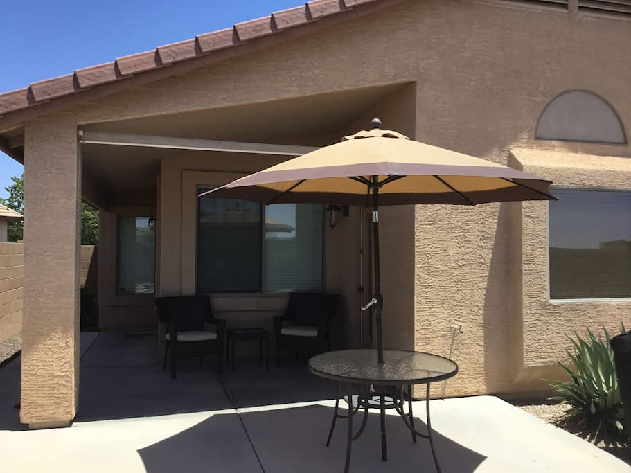 Relax and enjoy the covered patio.