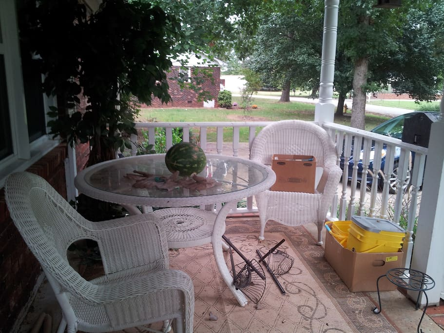 Front porch or back patio are great places to sit and enjoy coffee.