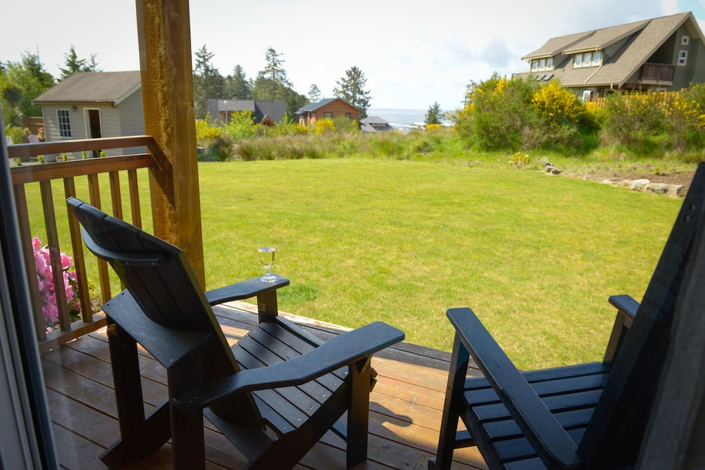 Enjoy the ocean view from your private deck with quality deck chairs.