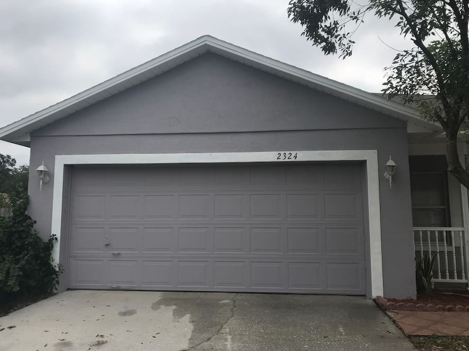 Outside view of 2 car garage