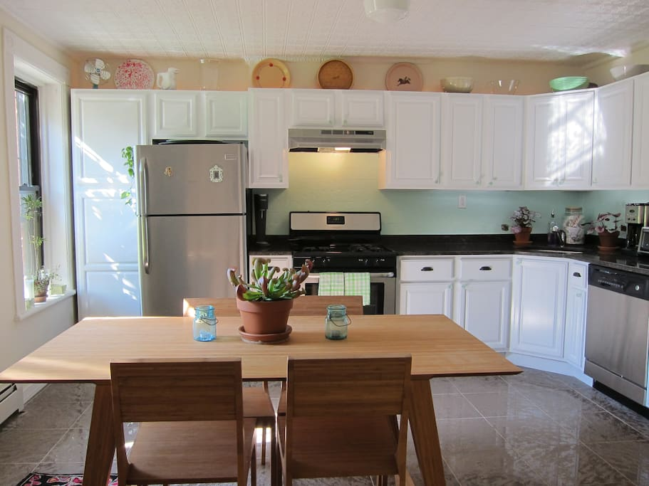 Gather around the table for a home cooked meal in our spacious, fully equipped eat in kitchen.