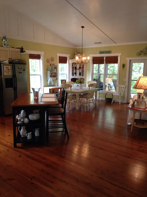 Open great room works well for entertaining